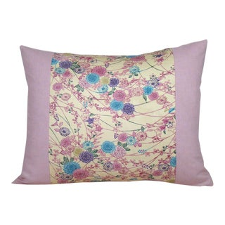Pink, Purple and Blue Floral Japanese Silk Kimono Lumbar Pillow Cover For Sale
