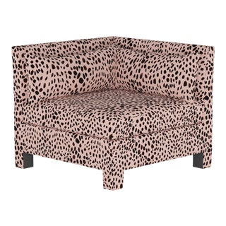 Washed Cheetah Pink Corner Chair For Sale