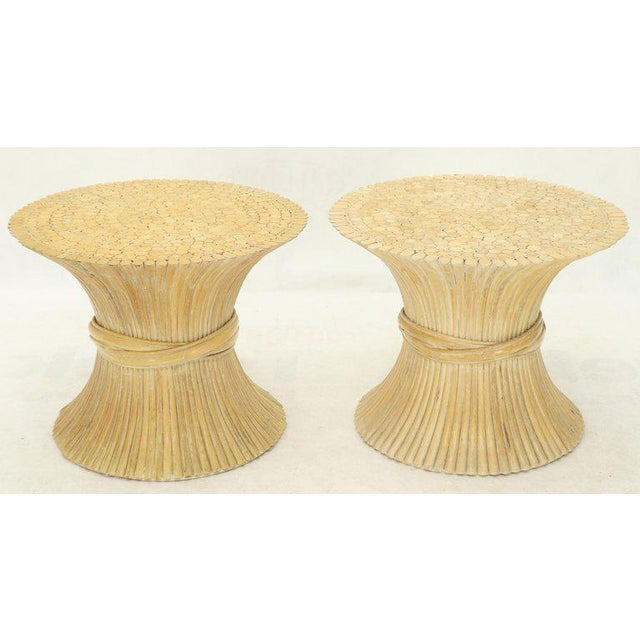 Pair of Sheaf of Bamboo Wheat Side End Occasional Tables Pedestals by McGuire For Sale - Image 10 of 10