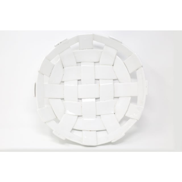 Country Vintage Handmade Ceramic Basket For Sale - Image 3 of 11
