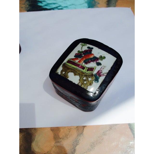 Porcelain Lacquer Glam Trinket Boxes - Set of 3 - Image 7 of 11