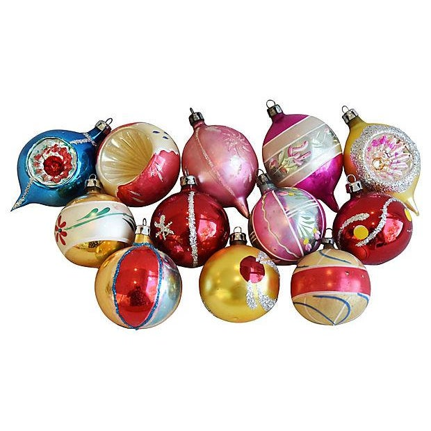 Mid Century Fancy Christmas Ornaments w/Box - Set of 12 - Image 5 of 7