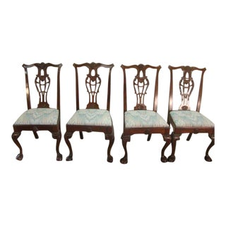Link Taylor Set of Four Mahogany Chippendale Chairs For Sale