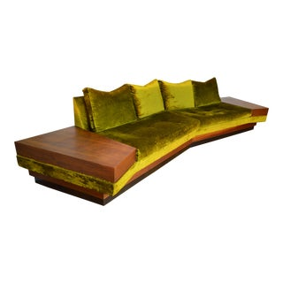 Adrian Pearsall for Craft Associate Curved Sectional Sofa With Attached End Tables For Sale