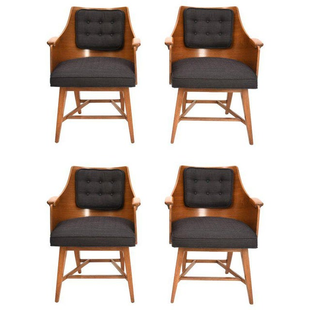 Edward Wormley for Dunbar Chairs, Rare Set of Four, 1950's For Sale - Image 11 of 11