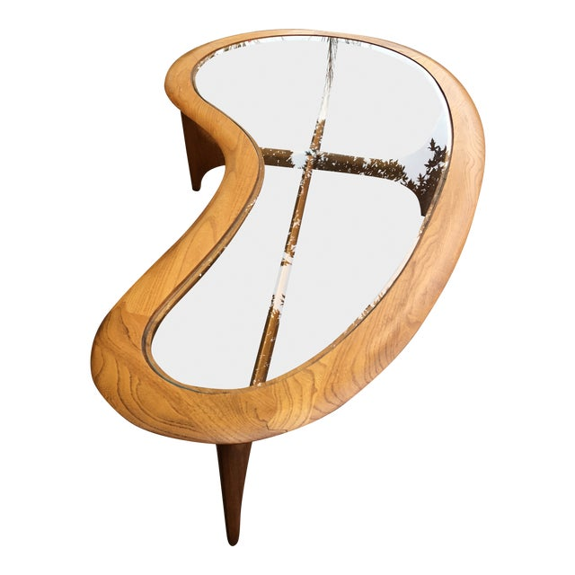 Mid Century Vintage Lane Kidney Shaped Coffee Table For Sale