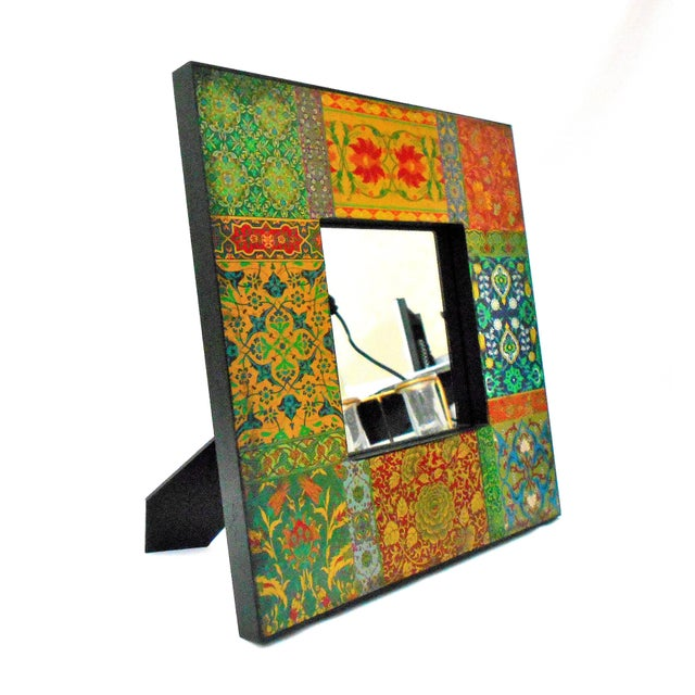 This Bohemian Chic mirror can be hung on a wall, or used as a tabletop mirror. Made of wood with Boho style patchwork...