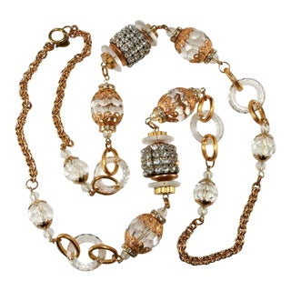 Lawrence Vrba Long Bead Necklace With Lucite and Rhinestones For Sale