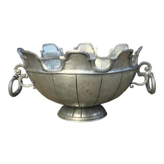 Vintage English Pewter Monteith Punchbowl /wine Chiller For Sale