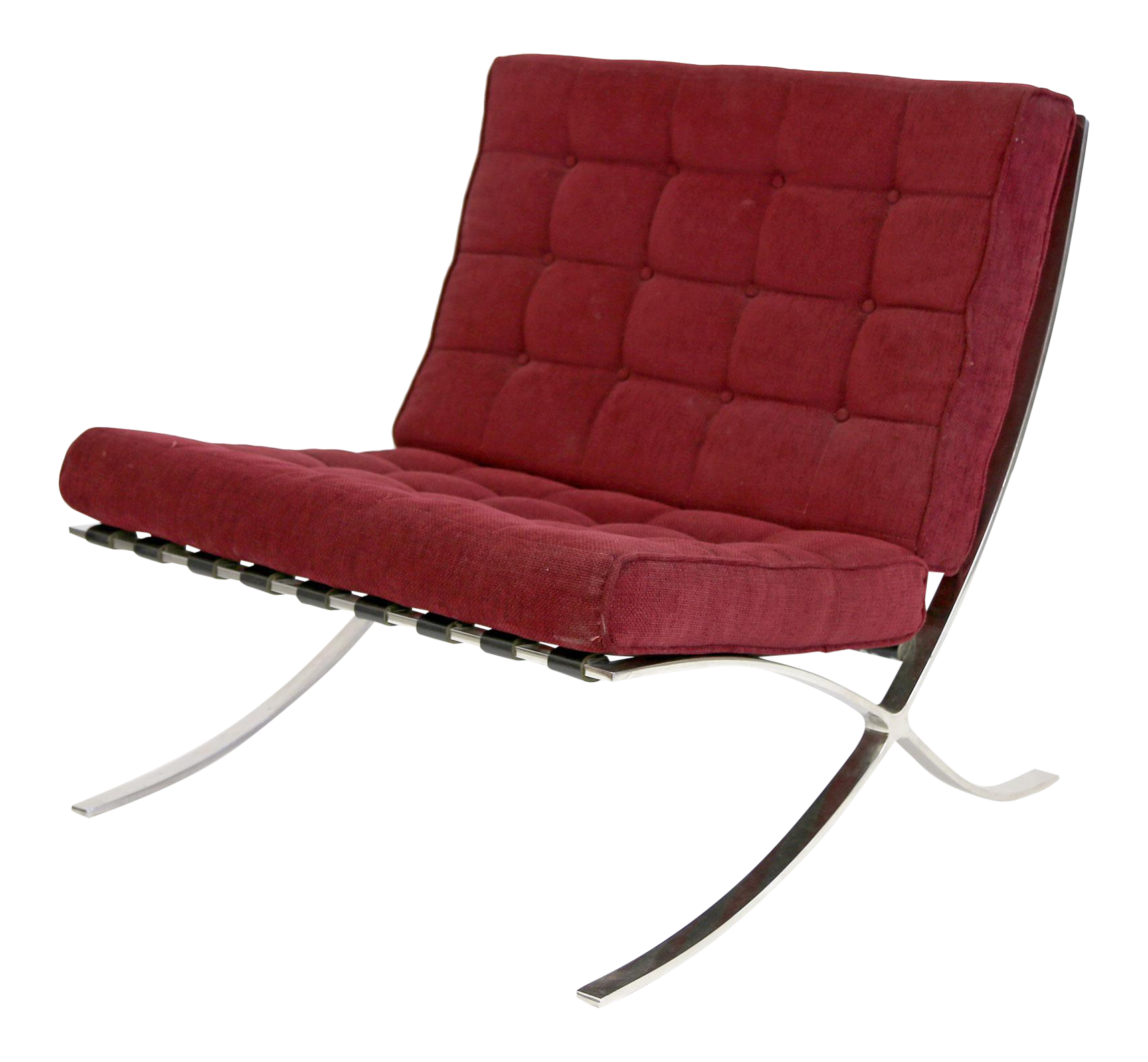 Marvelous Vintage Mies Van Der Rohe Barcelona Chair Reproduction In Burgundy  Upholstery