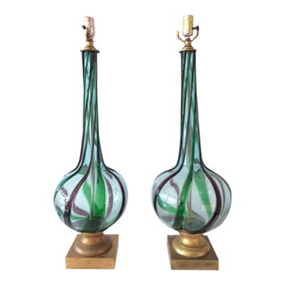 Vintage Murano Glass Swirl Table Lamps - a Pair For Sale