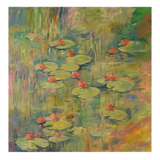 Water Garden in Green Impressionist Painting For Sale