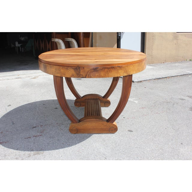 French Art Deco Solid Walnut Oval Dining Table ''U'' Legs Base Circa 1940s - Image 11 of 13