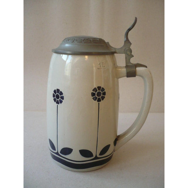 1900 - 1909 Art Nouveau German Beer Stein by Peter Behrens For Sale - Image 5 of 12