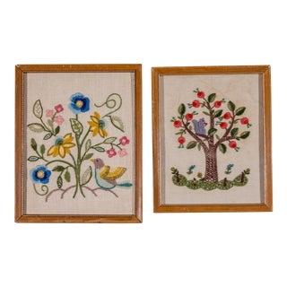 English Framed Crewelwork Floral Textile Art - a Pair For Sale
