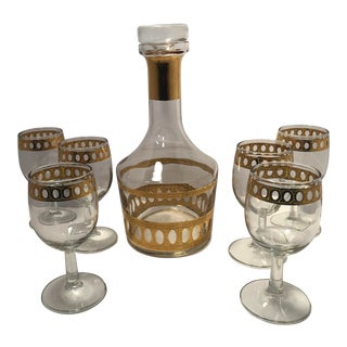 1960s Mid Century Culver Antigua Style Gold Decanter and Glasses Set - Set of 7 For Sale
