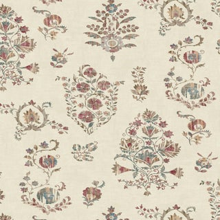 "Lewis & Wood Sicilia Document Extra Wide 52"" Botanic Wallpaper Sample For Sale"