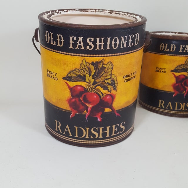 Americana Radish Canister Containers - Set of 3 For Sale - Image 4 of 7