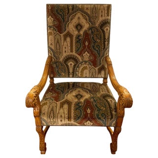 Versace Style Fabric Throne Chair, Circa 1930s For Sale