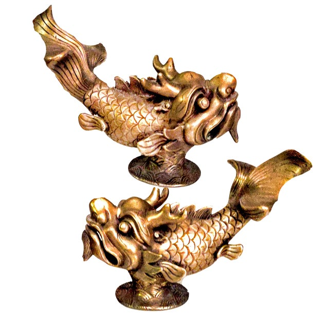 Late 19th Century Shiwan Koi Foo Dragon Brass Door Knockers - a Pair For Sale