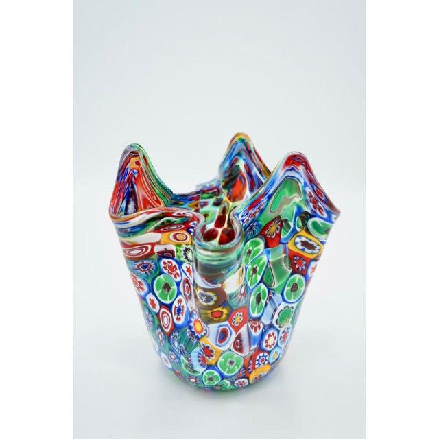 1960s Vintage Murano Multicolored Millefiori Handkerchief Vase For Sale - Image 5 of 10
