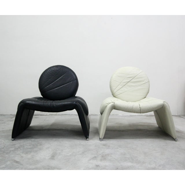 Pair Of Black And White Vintage Leather Italian Lounge Chairs Chairish
