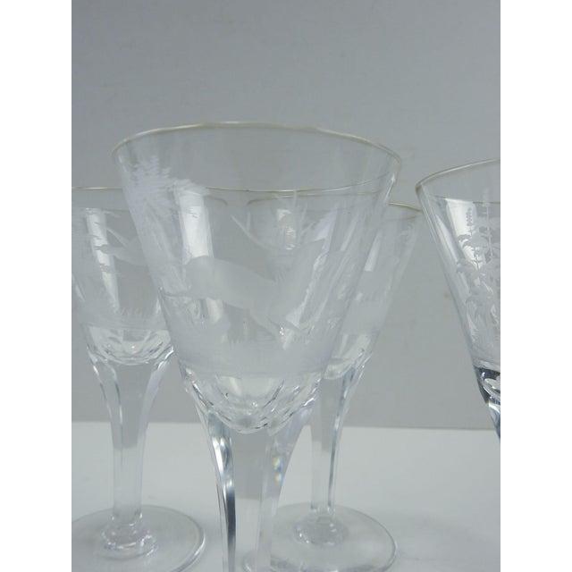 Art Nouveau Etched Wildlife Vintage Wine Glasses - Set of 7 For Sale - Image 3 of 7