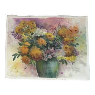Original Unframed Watercolor Floral Still Life Painting For Sale