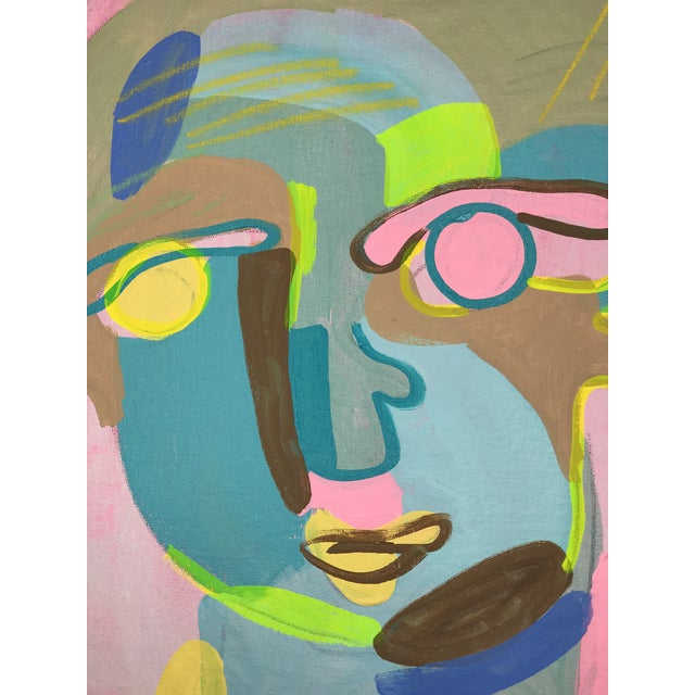 """Contemporary Abstract Portrait Painting """"Let's Have Some Fun, No. 2"""" - Framed For Sale - Image 4 of 10"""
