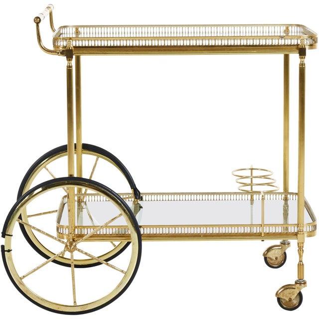Metal Brass Bar Cart, Denmark, 1960s For Sale - Image 7 of 7