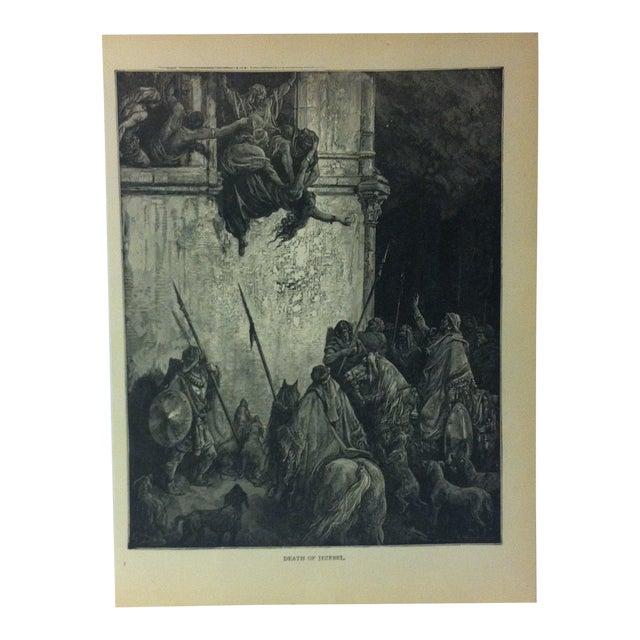 "Antique 1901 Gustave Dore Illustrated Print on Paper ""Death of Jezebel"" For Sale"