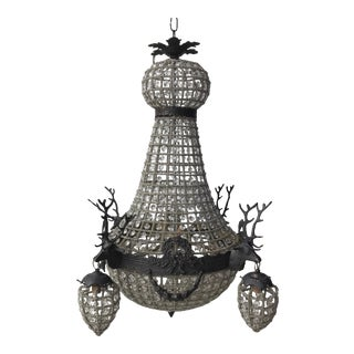 Charcoal Gray Deer Head Stag Crystal Chandelier