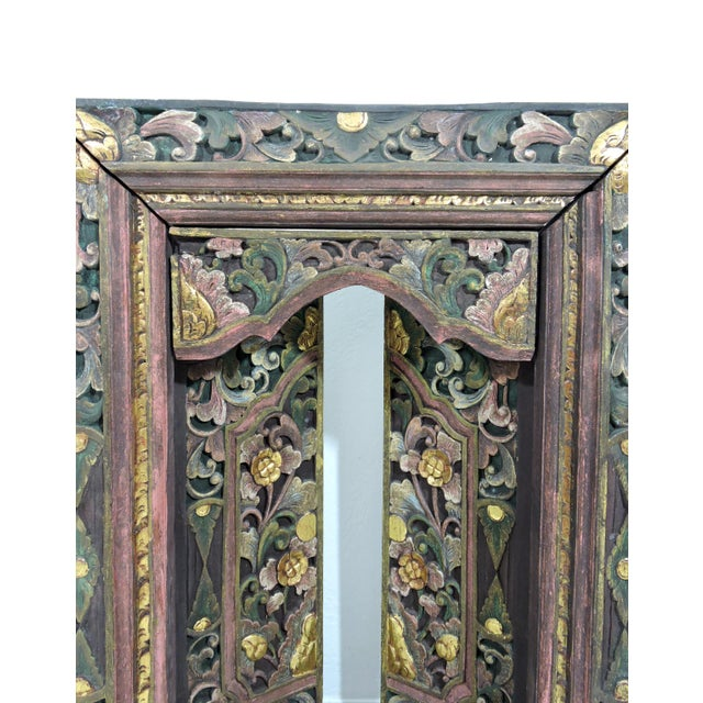 Green Vintage Hand Carved Floral Indian Window Frame or Wall Panel For Sale - Image 8 of 10