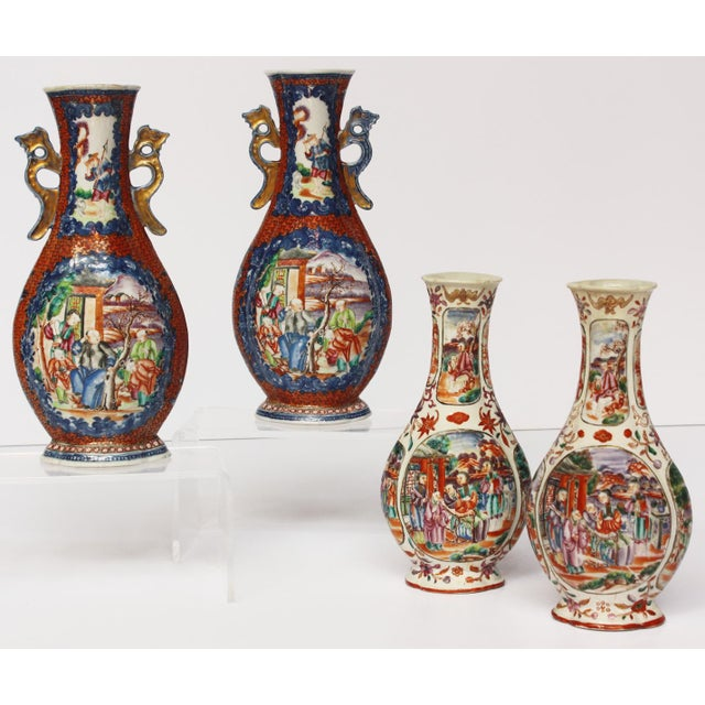 Asian Two Pairs, 18th Century Mandarin Pallet Chinese Export Vases For Sale - Image 3 of 10