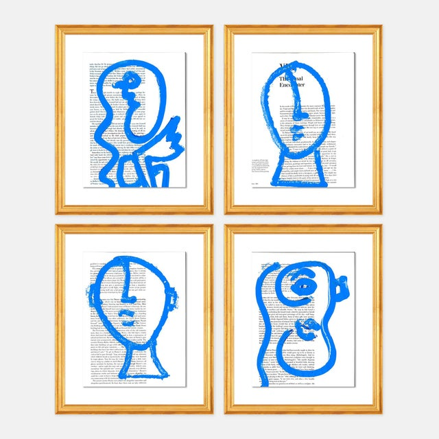 Contemporary Blue Portraits 4pc Set by Virginia Chamlee in Gold Frame, Small Art Print For Sale - Image 3 of 3