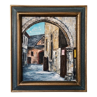 Vintage Oil on Canvas Cityscape Painting For Sale