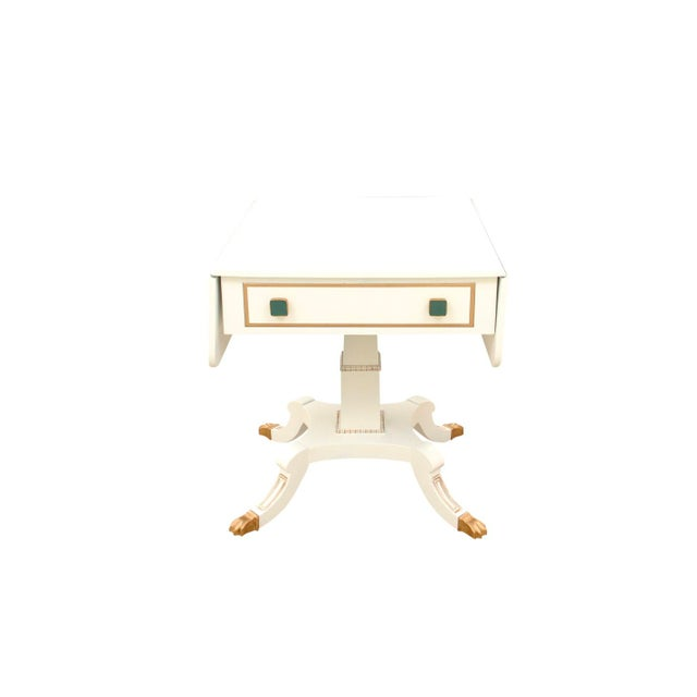 1980s Neoclassical Drop Leaf Side Table With Green Glass Knobs For Sale In Tampa - Image 6 of 7