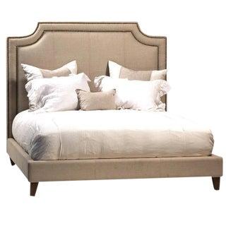 Linen Upholstered Bed Frame Eastern King For Sale