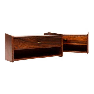 Vintage Danish Mid-Century Floating Rosewood Nighstands - a Pair For Sale