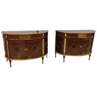 Pair of Russian Neoclassical Demilune Bronze-Mounted Cabinets Style Jansen For Sale