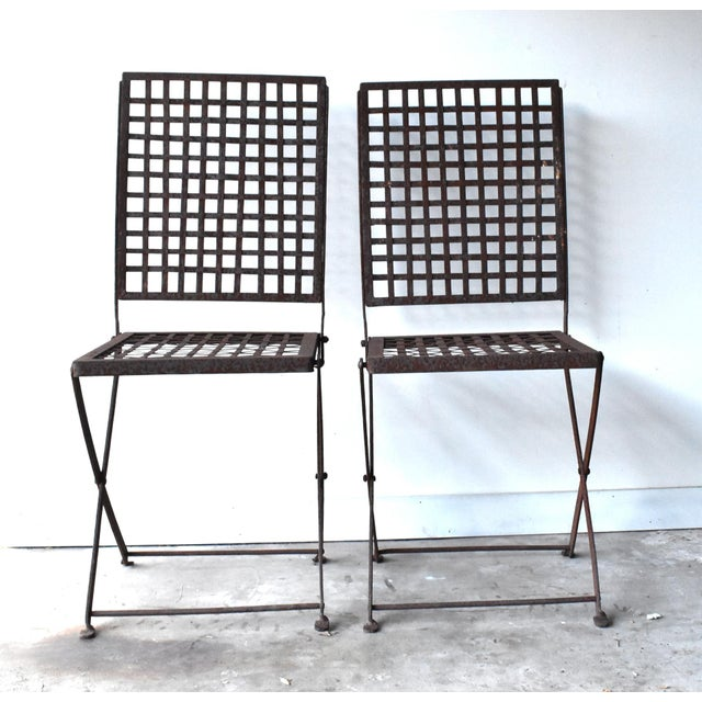 Mid-Century Modern Vintage 1940s Wrought Iron Folding Garden Chairs - a Pair For Sale - Image 3 of 11