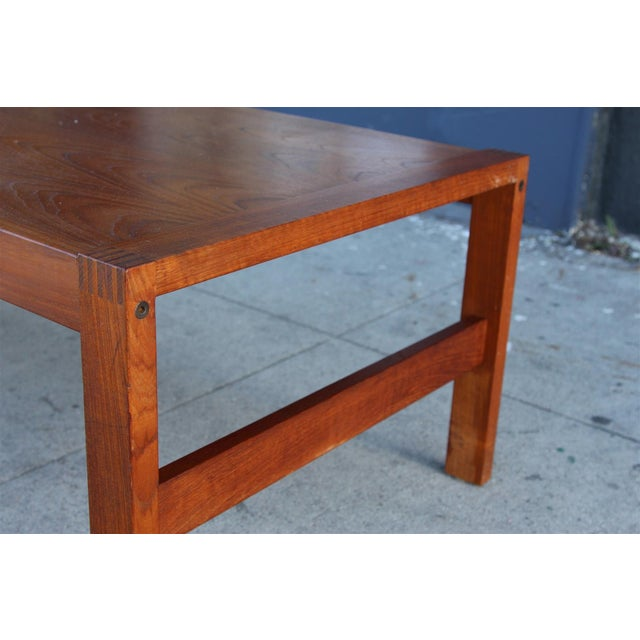 Long Rectangular Cocktail Table in Solid Teak For Sale - Image 4 of 11
