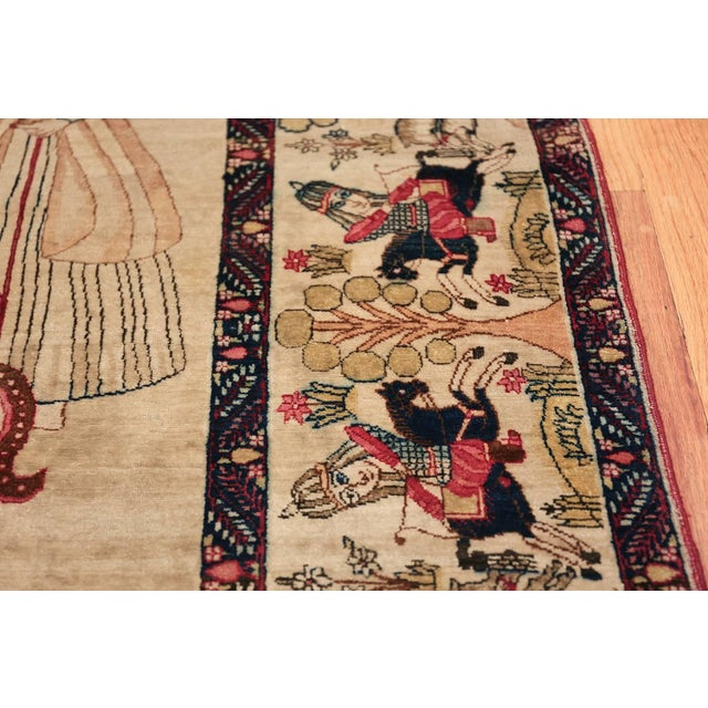 Pictorial Antique Persian Kerman Rug - 4′8″ × 7′6″ For Sale - Image 10 of 13