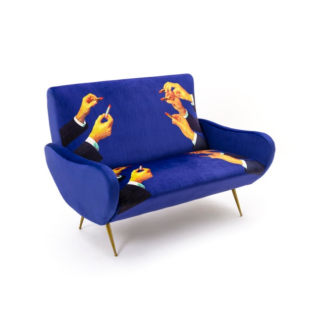 Contemporary Seletti, Lipsticks Loveseat, Blue, Toiletpaper, 2018 For Sale - Image 3 of 5