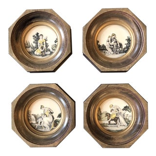 Gallery Wall Collection 4 Miniature Vintage Classical Prints Framed For Sale