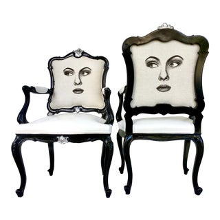 """20th Century Louis XVI Style Lacquered """"Two Face"""" Armchairs - a Pair"""