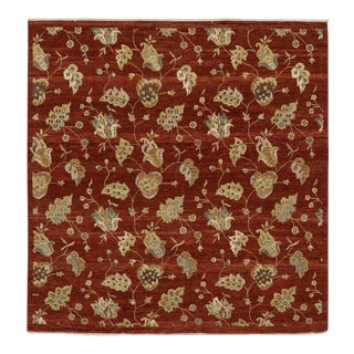 Modern Indian Rug with Floral Pattern and Transitional Style, Square Rug For Sale