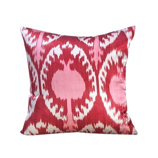 Kim Salmela Turkish Silk Ikat Square Throw Pillow For Sale