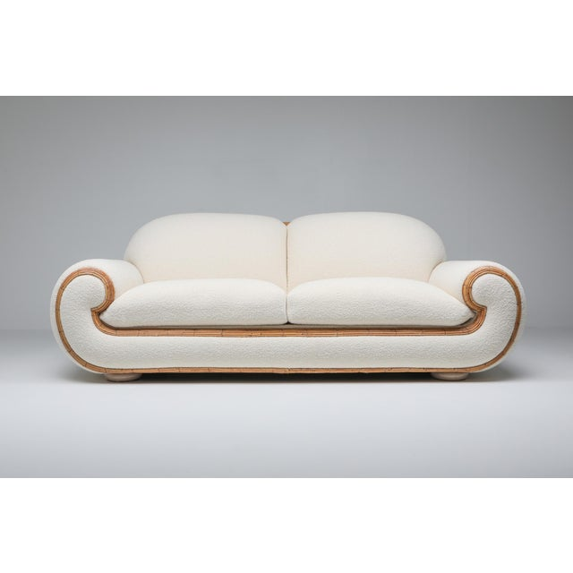 Tropicalist 1970s Italian version of the Ours Polaire sofa by Jean Royère. Magnificent piece with impressive quality and...