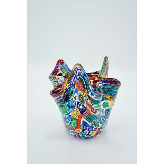 Mid-Century Modern Vintage Murano Multicolored Millefiori Handkerchief Vase For Sale - Image 3 of 10